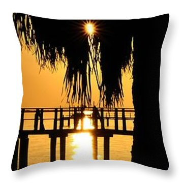 Throw Pillow featuring the photograph Golden Pier Panorama by Richard Zentner