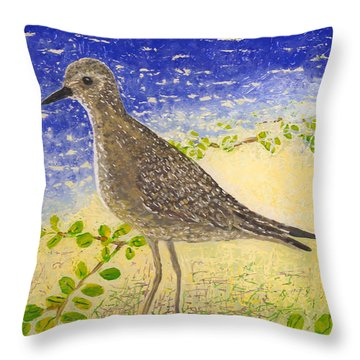 Throw Pillow featuring the painting Golden Plover by Anna Skaradzinska