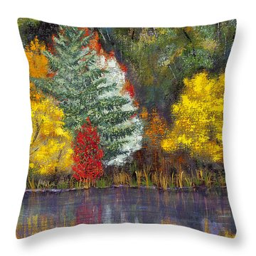 Throw Pillow featuring the painting Autumn Tapestry by Margaret Bobb