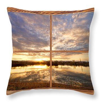 Golden Ponds Sunset Reflections  Barn Wood Picture Window View Throw Pillow by James BO  Insogna
