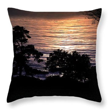 Golden Rays Of Sunset On The Water Throw Pillow