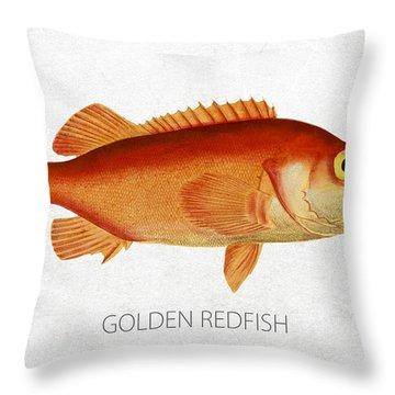 Golden Redfish Throw Pillow by Aged Pixel