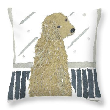 Golden Retriever Art Hand-torn Newspaper Collage Art Throw Pillow by Keiko Suzuki Bless Hue