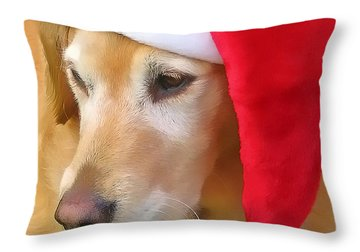 Golden Retriever Dog In Santa Hat  Throw Pillow by Jennie Marie Schell