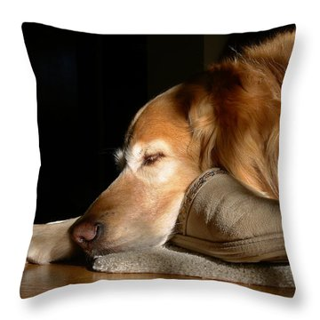 Golden Retriever Dog With Master's Slipper Throw Pillow