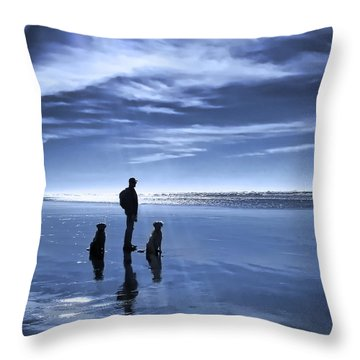 Golden Retriever Dogs End Of The Day Throw Pillow by Jennie Marie Schell