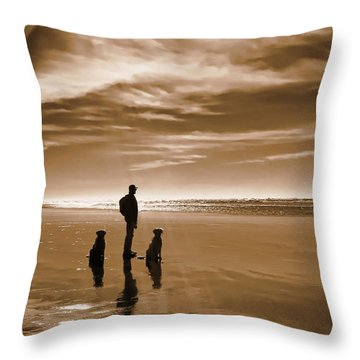 Golden Retriever Dogs End Of The Day Sepia Throw Pillow by Jennie Marie Schell