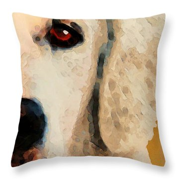 Throw Pillow featuring the painting Golden Retriever Half Face By Sharon Cummings by Sharon Cummings