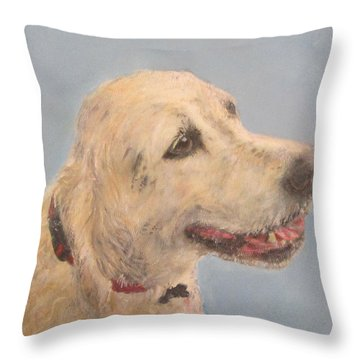 Pet Portrait Of Golden Retriever Maisie  Throw Pillow