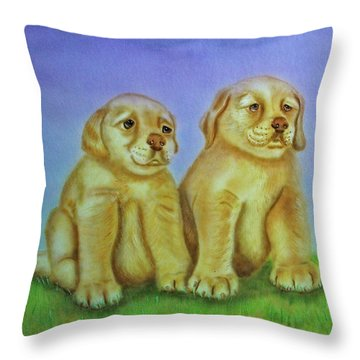 Throw Pillow featuring the painting Golden Retriever by Thomas J Herring