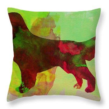 Golden Retriever Watercolor Throw Pillow by Naxart Studio