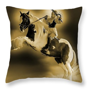 Golden Rider Throw Pillow