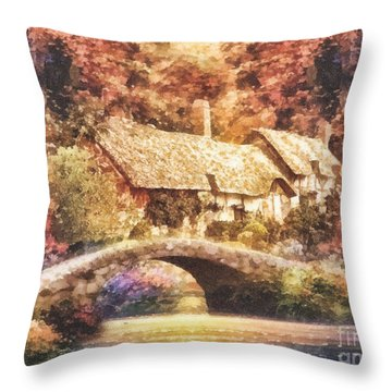 Golden Ripple Throw Pillow by Mo T