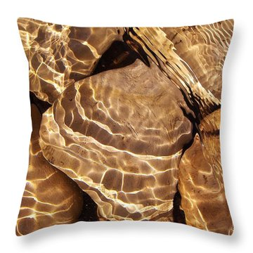 Golden Ripples Throw Pillow