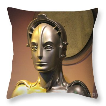Throw Pillow featuring the photograph Golden Robot Lady Closeup by Cynthia Snyder