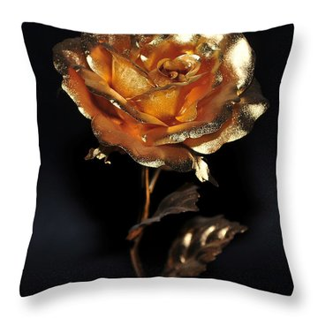 Golden Rose Throw Pillow