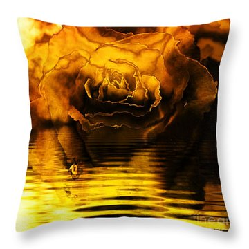 Golden Rose On The Lake Throw Pillow