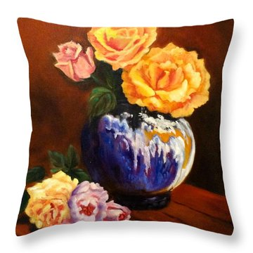 Throw Pillow featuring the painting Golden Roses by Jenny Lee