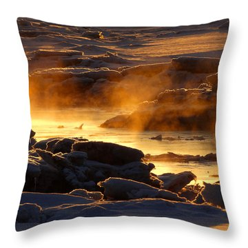 Golden Sea Smoke At Sunrise Throw Pillow by Dianne Cowen