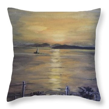 Golden Sea View Throw Pillow by Teresa White