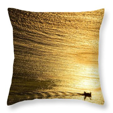 Golden Sea With Boat At Sunset Throw Pillow