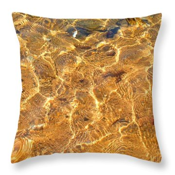 Throw Pillow featuring the photograph Golden Shallow Water And Rocks 2 by Becky Lupe