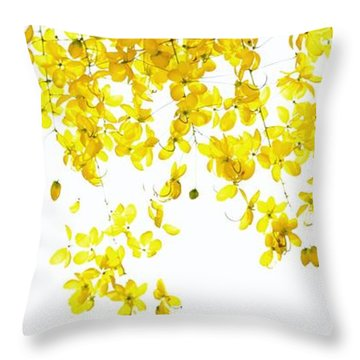 Golden Showers Flowers Throw Pillow