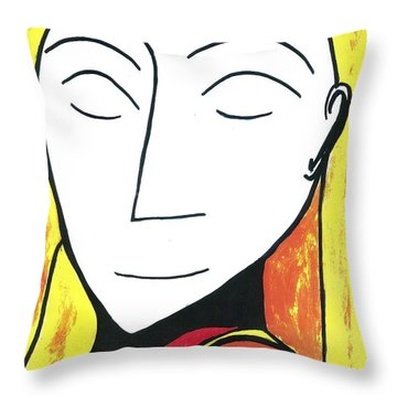 Throw Pillow featuring the drawing Golden Silence by Don Koester