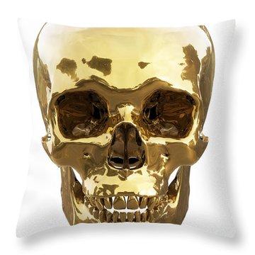Golden Skull Throw Pillow by Vitaliy Gladkiy