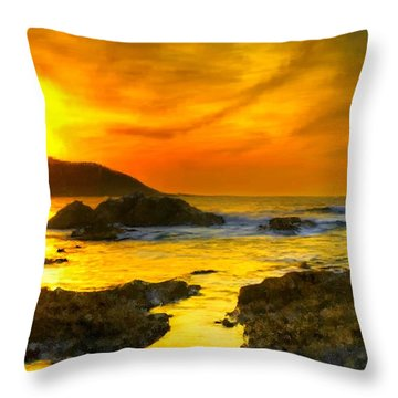 Golden Sky Throw Pillow by Bruce Nutting