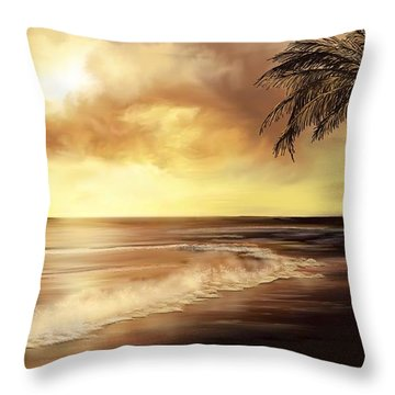 Golden Sky Over Tropical Beach Throw Pillow