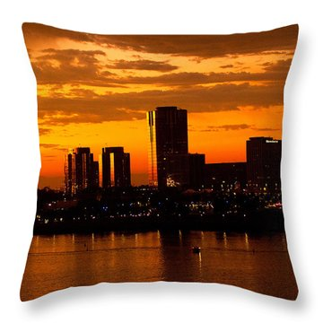 Golden Skys Cloak The Long Beach Skyline Throw Pillow