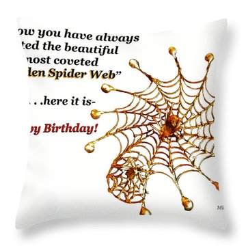 Golden Spider Web Birthday Card Throw Pillow