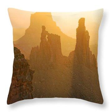 Golden Spires Throw Pillow