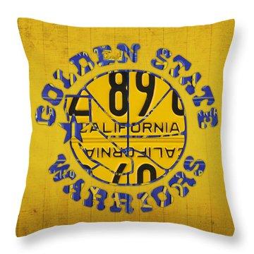 Golden State Warriors Basketball Team Retro Logo Vintage Recycled California License Plate Art Throw Pillow