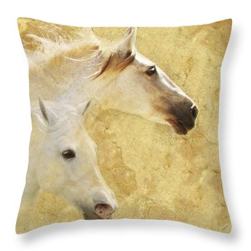 Golden Steeds Throw Pillow