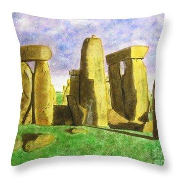 Golden Stonehenge Throw Pillow