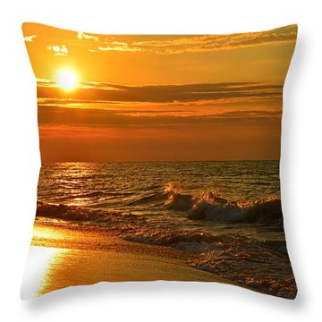 Golden Sunrise Colors With Waves And Horizon Clouds On Navarre Beach Throw Pillow