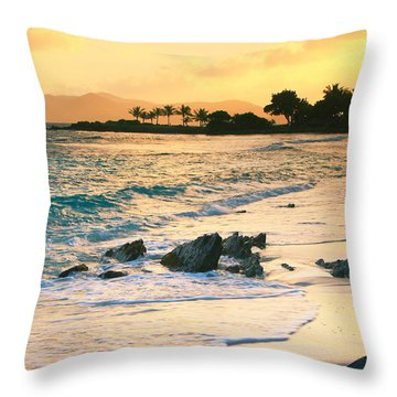 Golden Sunrise On Sapphire Beach Throw Pillow by Roupen  Baker