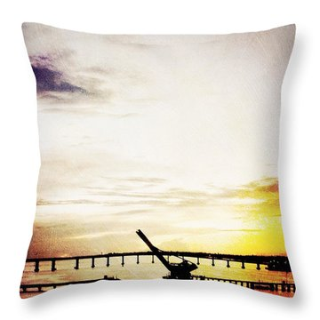 Golden Sunrise On The River Throw Pillow by Beth Williams