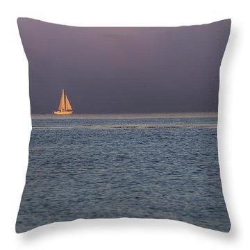 Golden Sunrise Sails By Denise Dube Throw Pillow