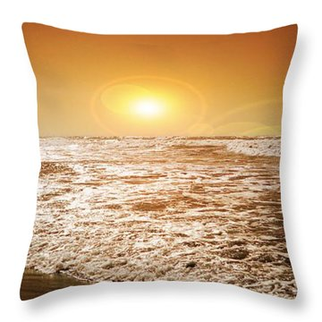 Beach Throw Pillow featuring the photograph Golden Sunset by Aaron Berg