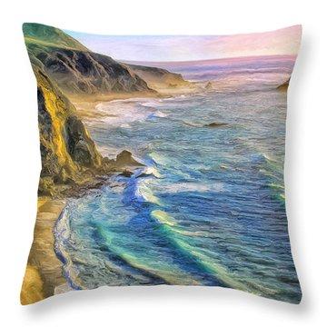 Golden Sunset At Big Sur Throw Pillow