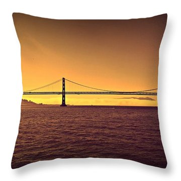 Golden Sunset Bridge Throw Pillow