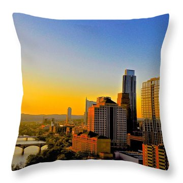Golden Sunset In Austin Texas Throw Pillow