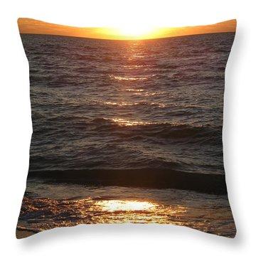 Throw Pillow featuring the photograph Golden Sunset At Destin Beach by Christiane Schulze Art And Photography