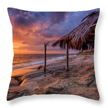 Golden Sunset The Surf Shack Throw Pillow