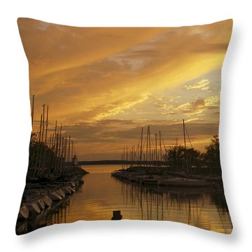 Golden Sunset With Sailboats Throw Pillow by Jane Eleanor Nicholas