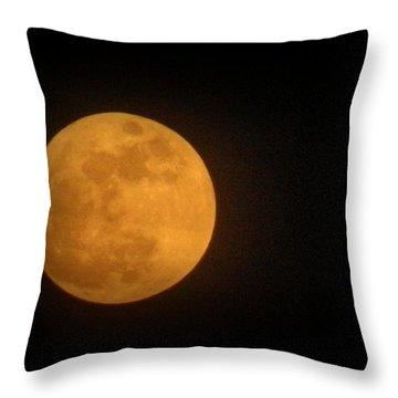 Golden Super Moon Throw Pillow