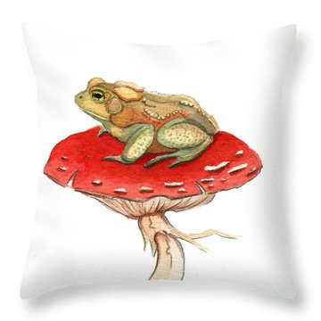 Golden Toad Throw Pillow by Katherine Miller